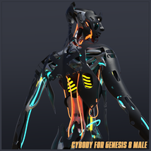 CyBody - Cyborg Internal Structure and Materials for Genesis 8 Male image 6