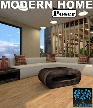 Modern Home for Poser 3D Models BlueTreeStudio