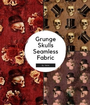 15 Grunge Skulls Seamless Fabric 2D Graphics Merchant Resources nelmi