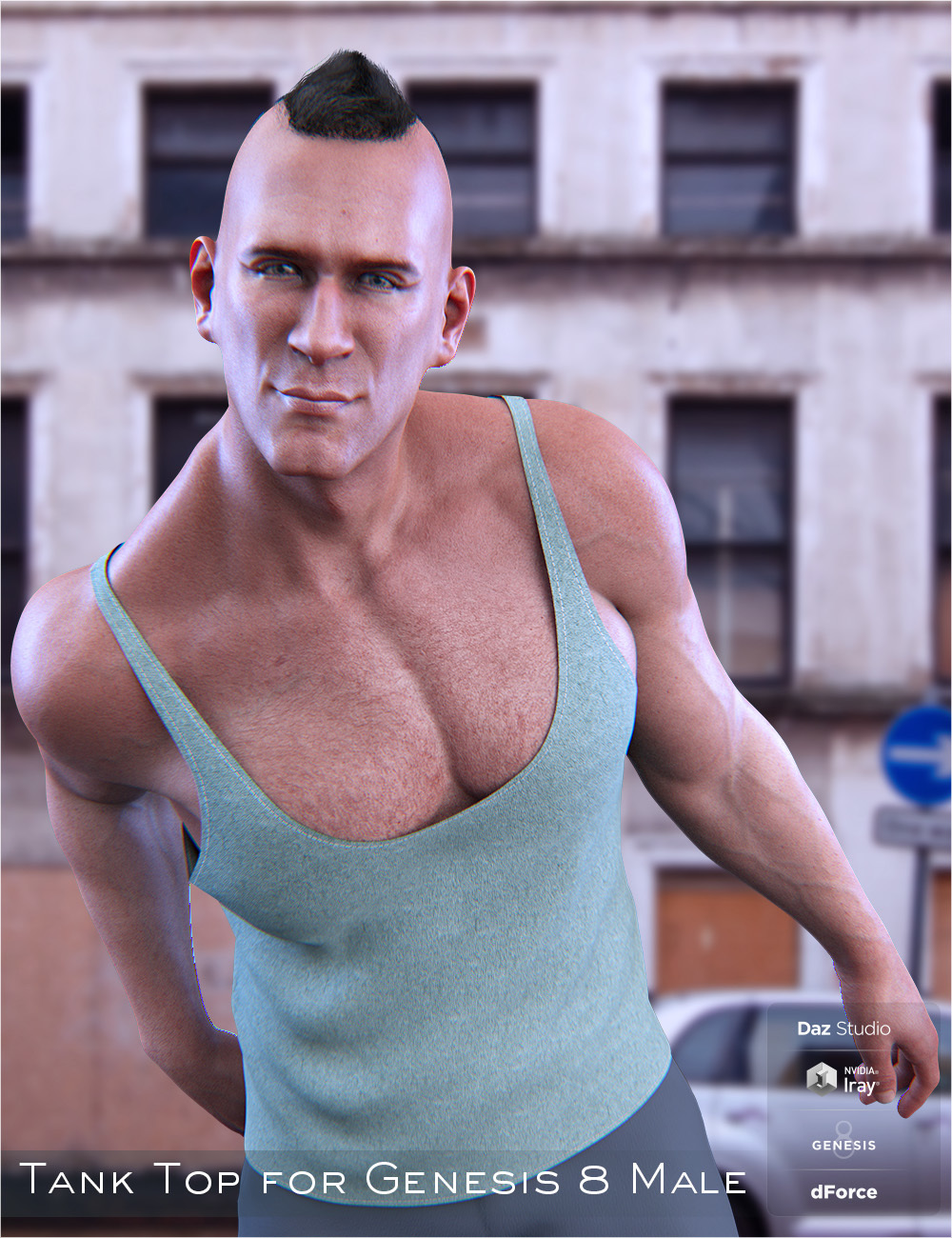 dForce Tank Top for Genesis 8 Male by Imaginary3D