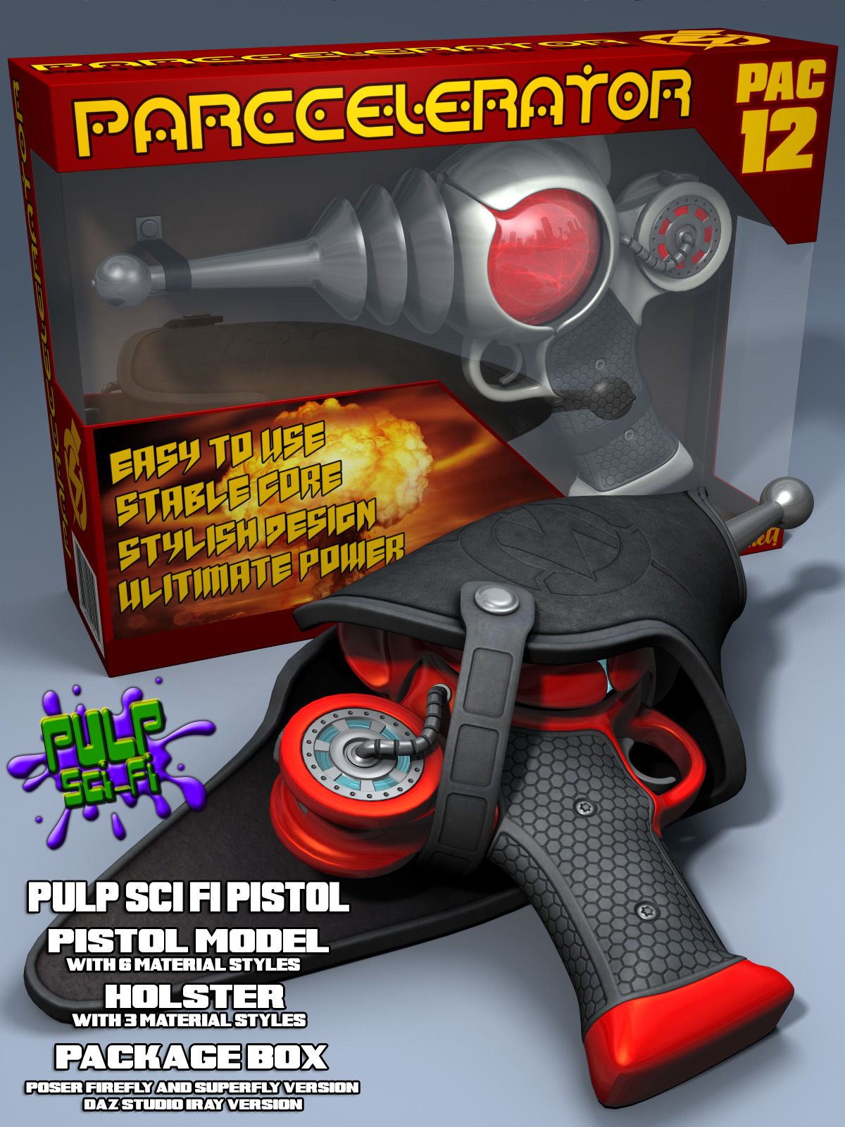 Pulp SciFi Pistol II for Poser and DS by coflek-gnorg