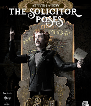 Solicitor Automaton Poses for Daz Studio 3D Figure Assets pamawo