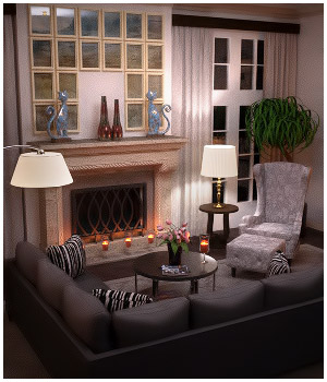 Modern Interiors - Living Room 1 3D Models RPublishing
