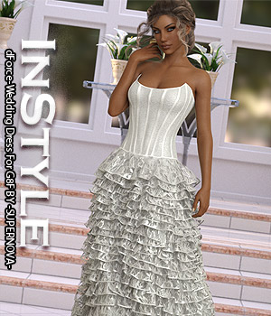 InStyle - dForce-Wedding Dress For G8F 3D Figure Assets -Valkyrie-