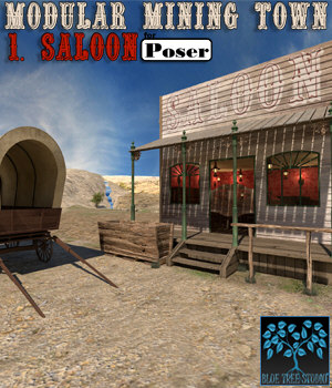 Modular Mining Town: 1. Saloon for Poser 3D Models BlueTreeStudio