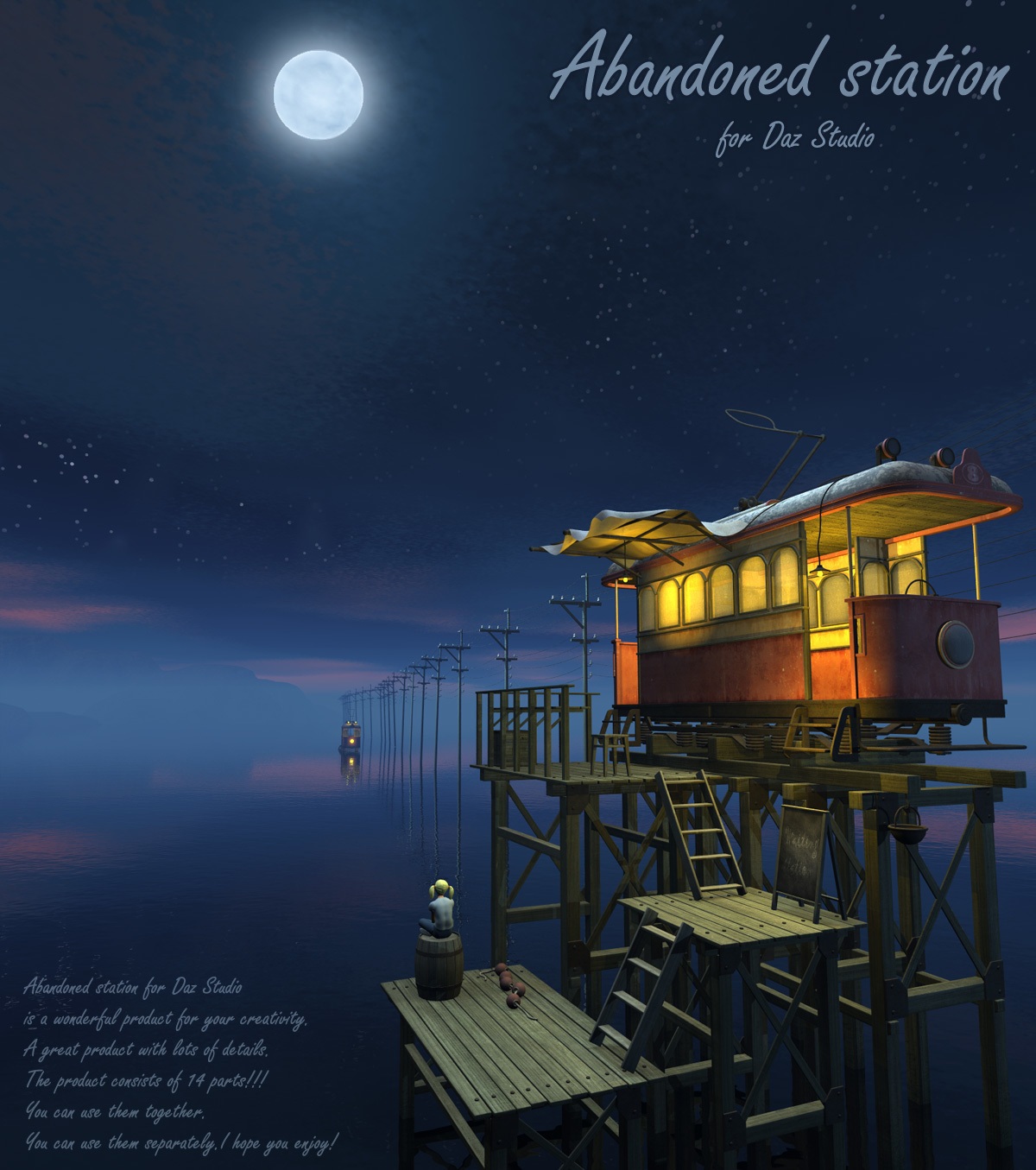 Abandoned station for Daz Studio by 1971s