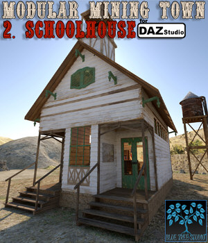 Modular Mining Town: 2. Schoolhouse for Daz Studio 3D Models BlueTreeStudio