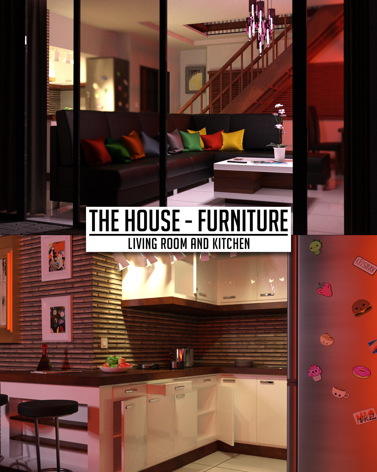 The House Furniture -Living Room and Kitchen