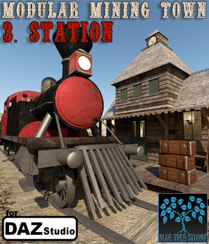 Modular Mining Town: 3. Station for Daz Studio 3D Models BlueTreeStudio