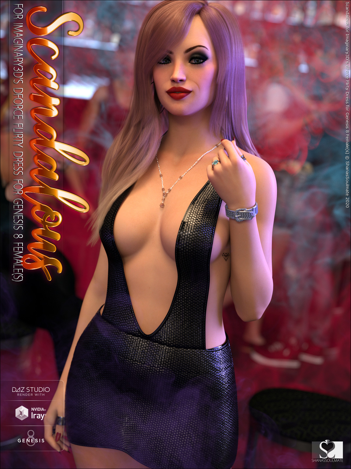 Scandalous for dForce Flirty Dress for Genesis 8 Female(s) by ShanasSoulmate