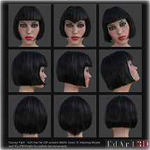 SciFi Hair for G3F image 1