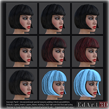 SciFi Hair for G3F image 2