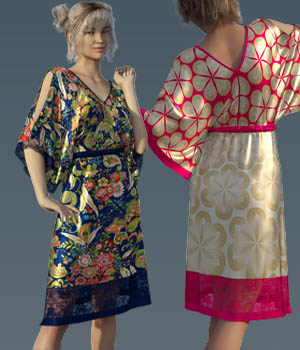 dForce Boho Kimono For Genesis 8 Female 3D Figure Assets Tikiman-3d