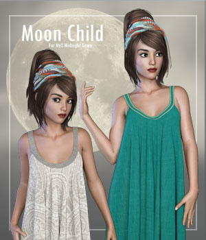 MoonChild for NyX Midnight Gown 3D Figure Assets La Femme - LHomme Poser Figures RPublishing