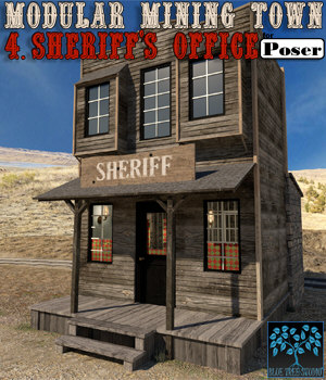 Modular Mining Town: 4. Sheriff's Office for Poser 3D Models BlueTreeStudio