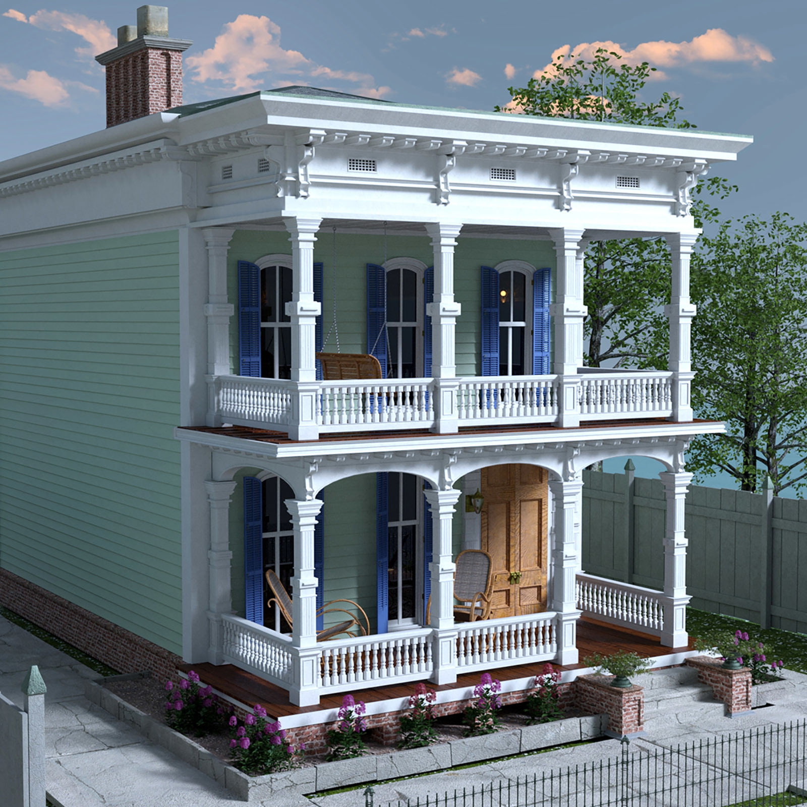 MS20 New Orleans Garden District House for DAZ Studio 4.9 Iray by London224