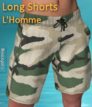 Long Shorts for L'Homme 3D Figure Assets La Femme - LHomme Poser Figures Karth