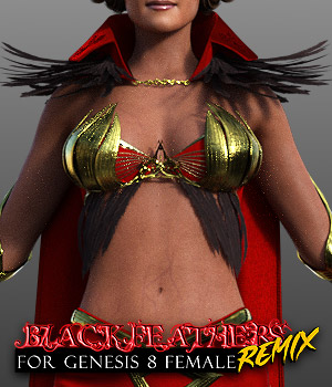 Black Feathers REMIX for G8F 3D Figure Assets powerage