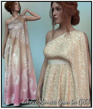 dForce - Rossetti Gown for G8F 3D Figure Assets Lully