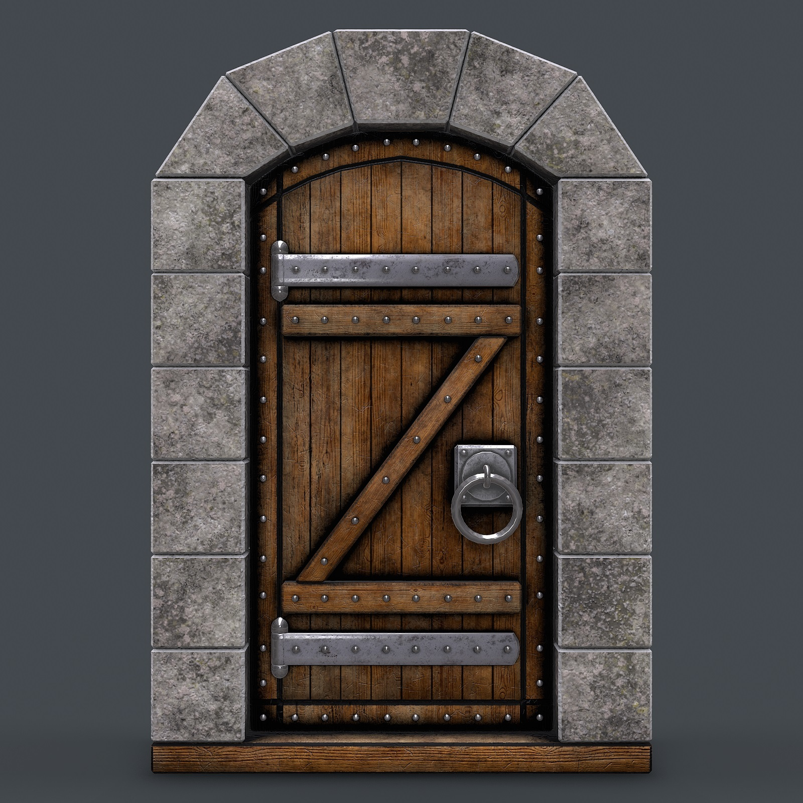 Ancient wooden door(animated) 3d model by Nicu_Tepes_Vulpe
