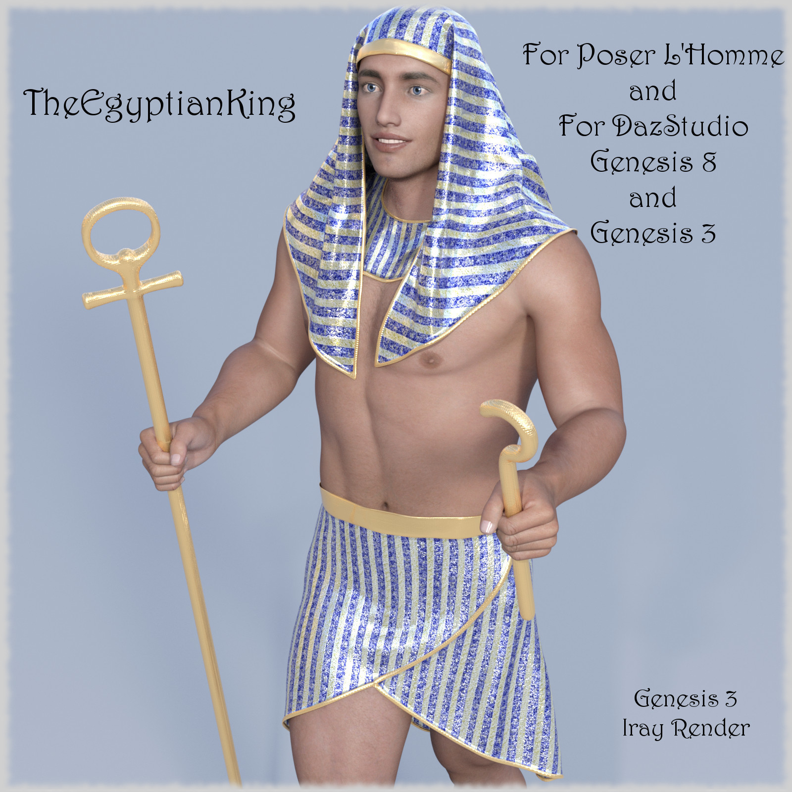 The Egyptian King  - Dynamic and dForce for L'Homme, Genesis 8 and Genesis 3 by jroulin