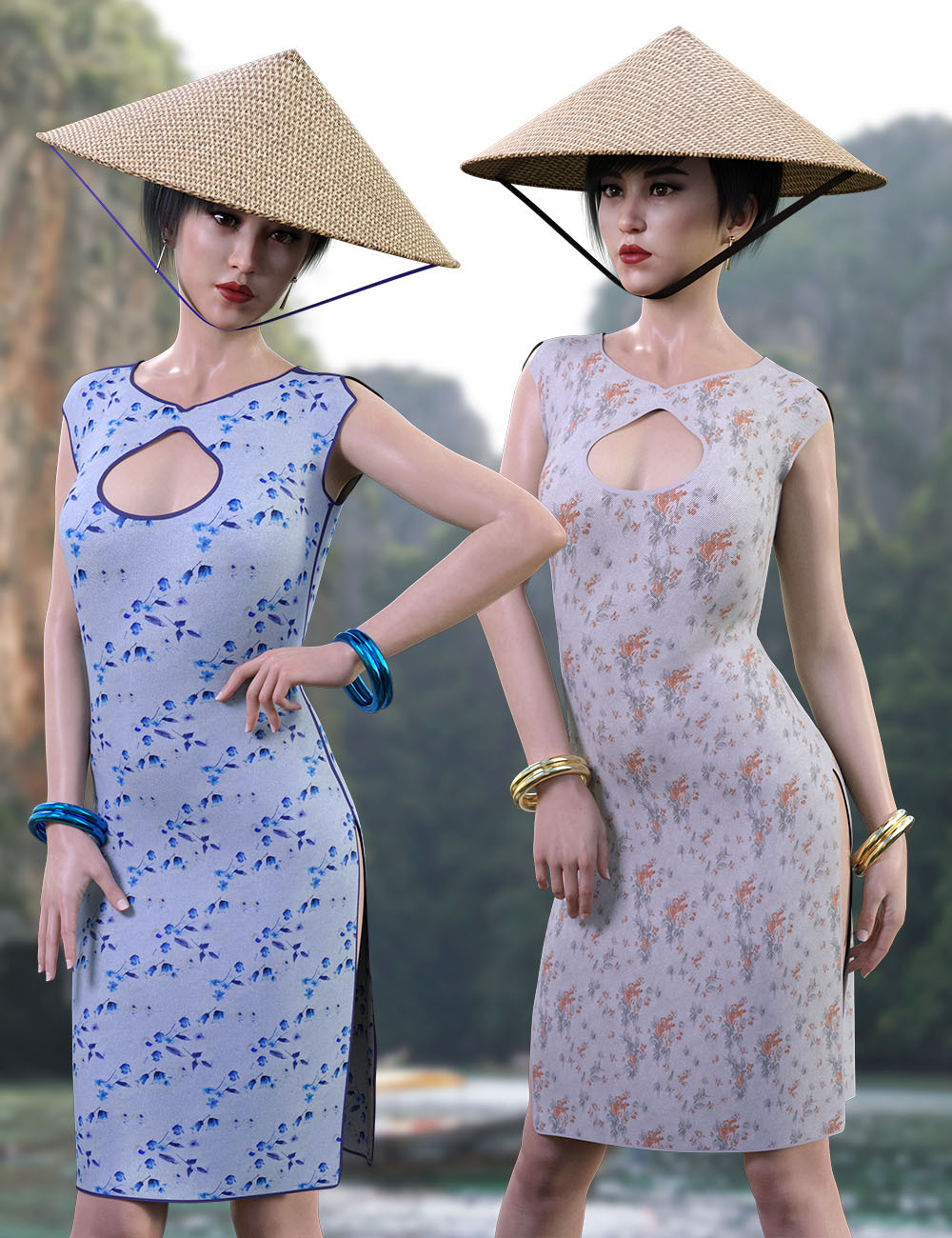 dForce Far East Dress and Props for Genesis 8 Female by RPublishing