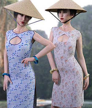 dForce Far East Dress and Props for Genesis 8 Female 3D Figure Assets RPublishing
