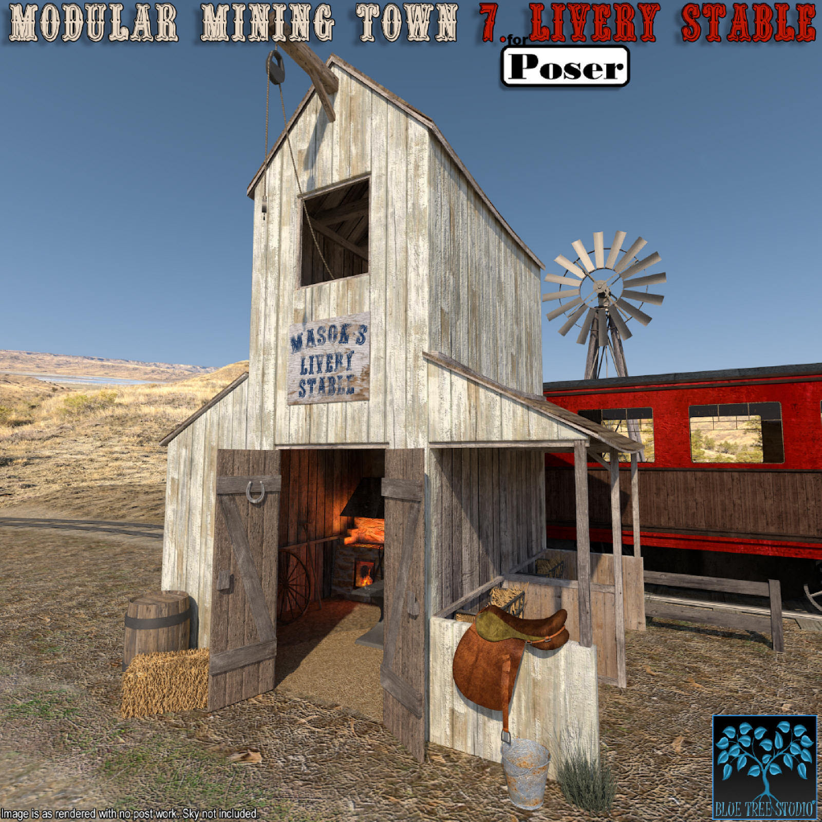 Modular Mining Town: 7. Livery Stable for Poser by BlueTreeStudio