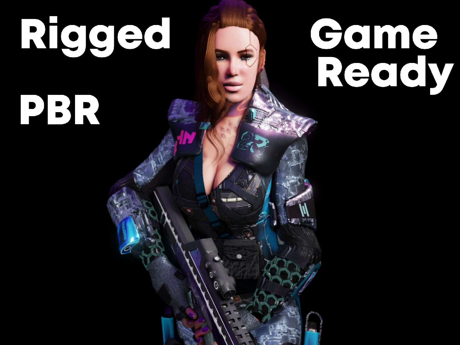 Sci fi Cyberpunk Action Girl Adrestia-Rigged - Extended License