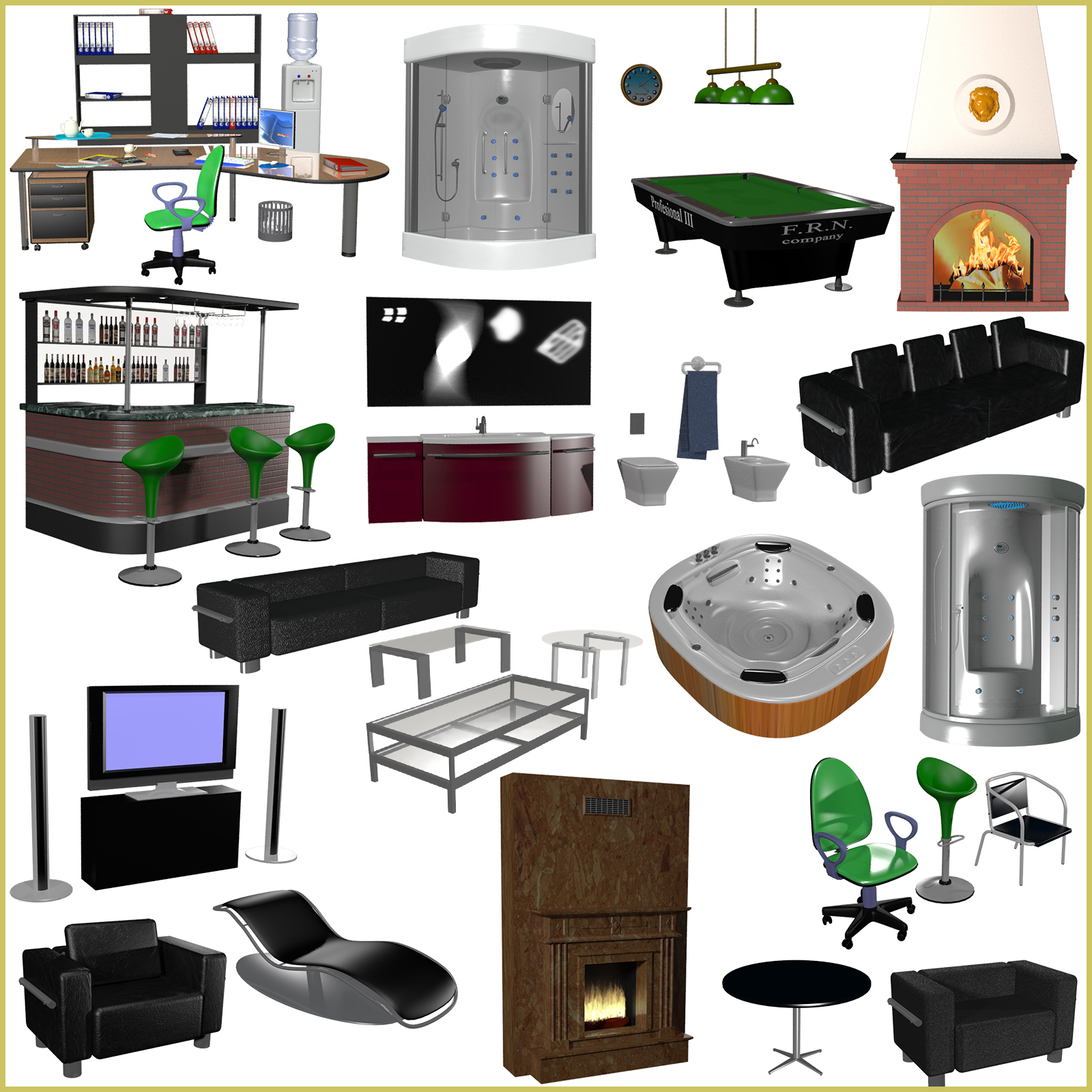 Furniture and Props set for Poser and Daz Studio