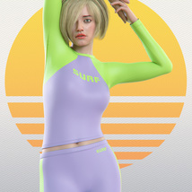 Surfer Girl Outfit and Surfboard for Genesis 8 Female image 2