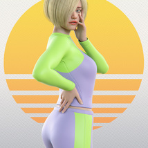 Surfer Girl Outfit and Surfboard for Genesis 8 Female image 4