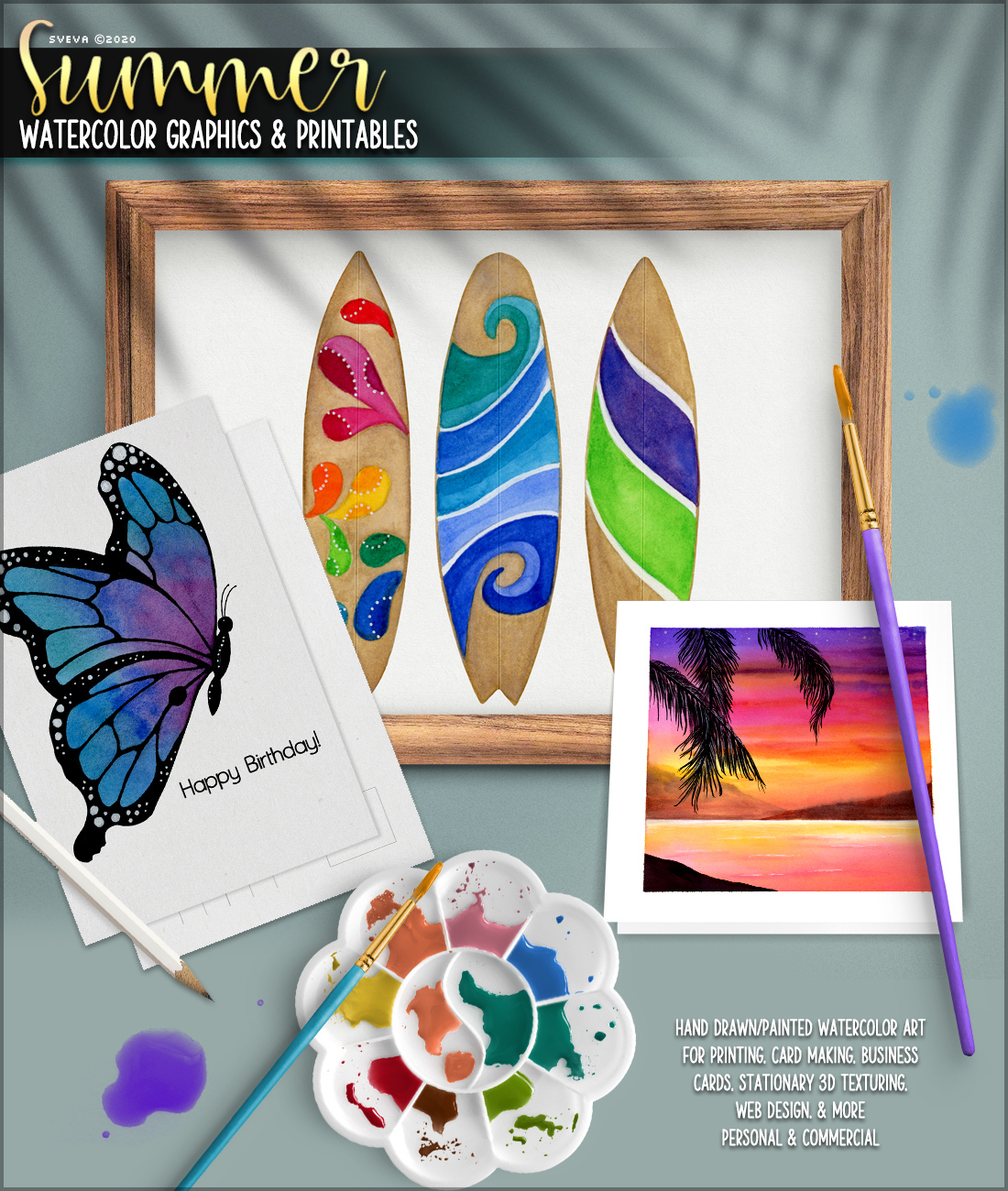 Summer Watercolor Graphics and Printables