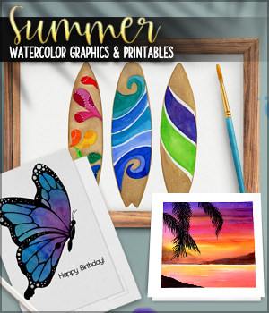 Summer Watercolor Graphics and Printables 2D Graphics Sveva