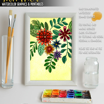 Summer Watercolor Graphics and Printables image 2