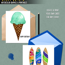 Summer Watercolor Graphics and Printables image 6