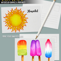 Summer Watercolor Graphics and Printables image 8