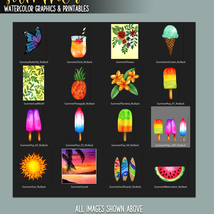 Summer Watercolor Graphics and Printables image 9