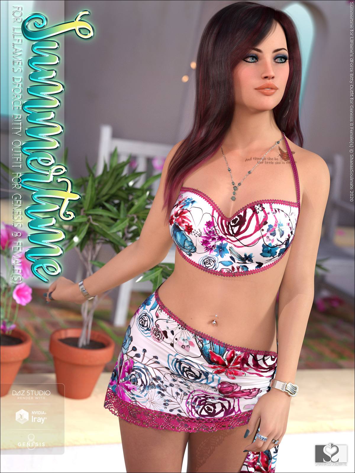 Summertime for dForce Bitty Outfit for Genesis 8 Female(s)