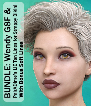 BUNDLE: PAD Wendy G8F with PairADime's LIE Tan Lines for Strappy Bikini 3D Figure Assets PairADime