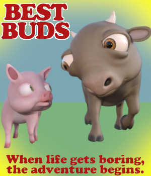 BEST BUDS Poses for ButterCup and Hamlet in Daz Studio 3D Figure Assets Winterbrose