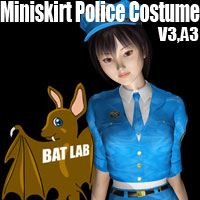 Miniskirt Police Costume for V3/A3 3D Figure Essentials BATLAB