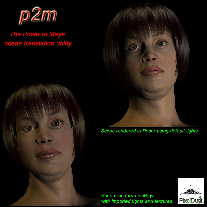p2m, the Poser(TM) to Maya(TM) translation utility