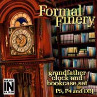 Formal Finery: Grandfather Clock & Bookcase 3D Models winnston1984