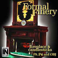 Formal Finery: Fireplace & Candlestick 3D Models winnston1984