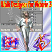 Walk Designer for Victoria 3 3D Software : Poser : Daz Studio : iClone 3D Figure Assets 3D Models nerd