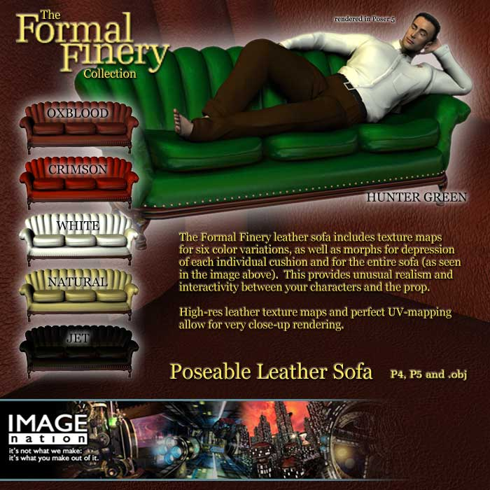 Formal Finery Poseable Leather Sofa