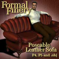 Formal Finery Poseable Leather Sofa 3D Models winnston1984