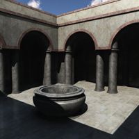Column Hall and Patio (3DS, Obj, Vue and Poser) image 5