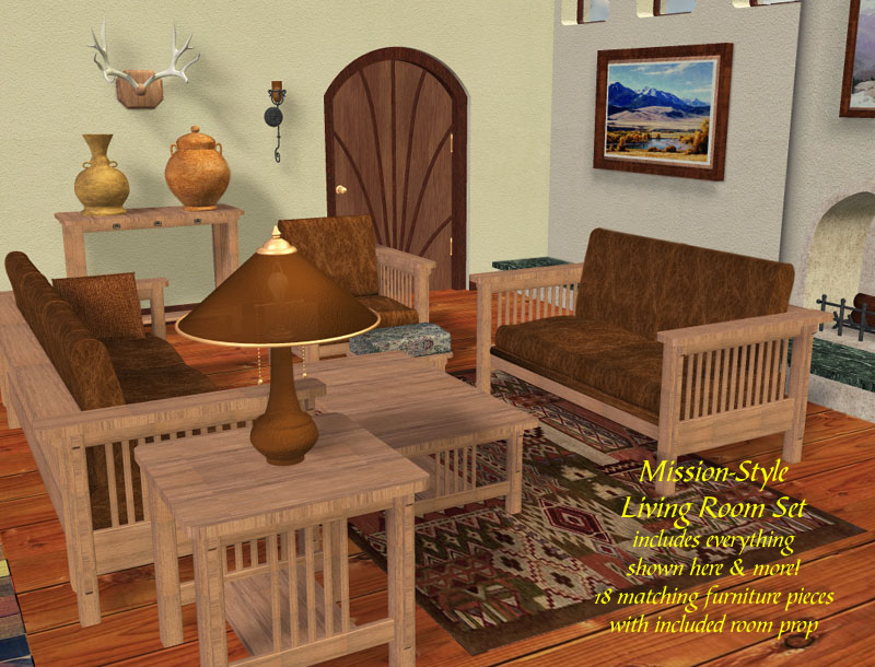 Mission Style Living Room Furniture Set